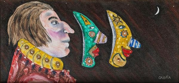Ramon Carulla painting LAS TRES CARAS II