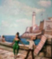 """Haydee Scull painting """"El Billetero en el Malecon"""""""