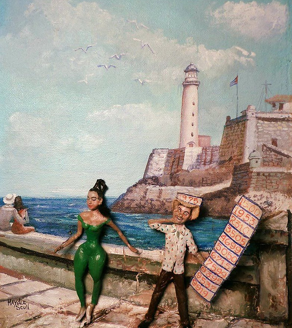 "Haydee Scull painting ""El Billetero en el Malecon"""