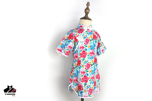 短袖旗袍 -碎花