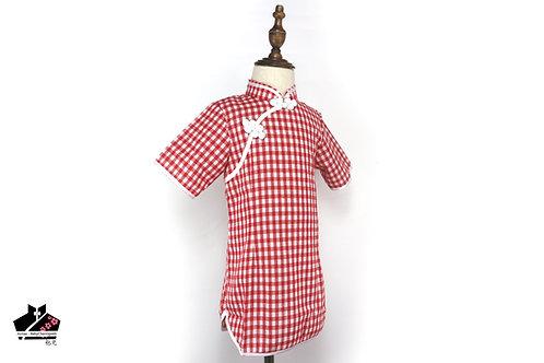 棉麻短袖旗袍(四) - 格仔