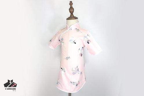 短袖旗袍-粉紅