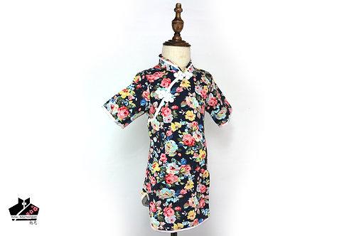棉麻短袖旗袍(三) - 碎花