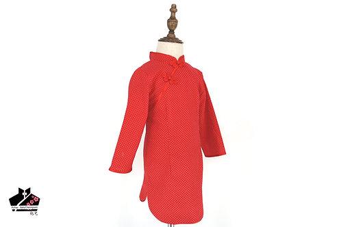 純棉波點長袖旗袍(廿八)