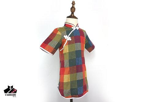 純棉短袖旗袍(二) - 彩格