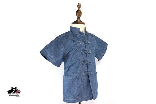 洗水牛仔布短袖唐裝(二)