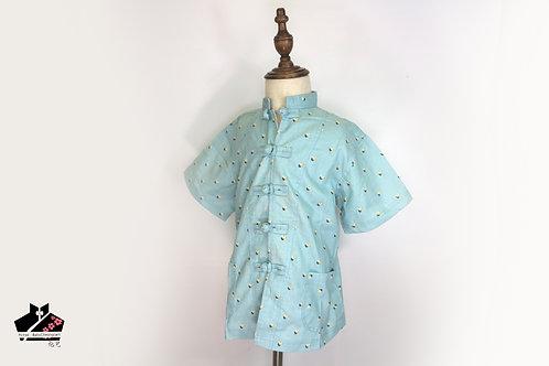 短袖唐裝-藍