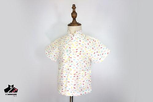 短袖唐裝-彩色紋