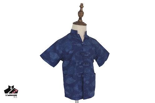 藍/雲短袖唐裝