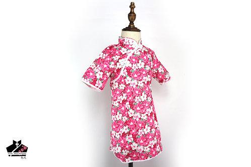 純棉短袖旗袍(三) -白花