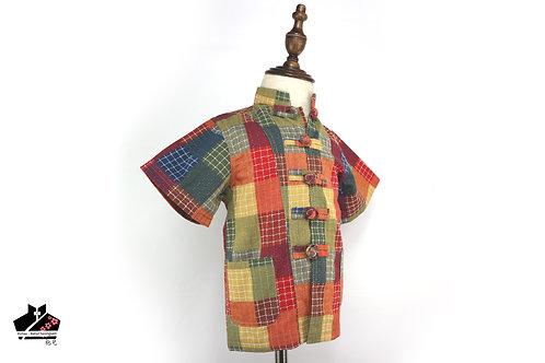 純棉短袖唐裝(二) - 彩格