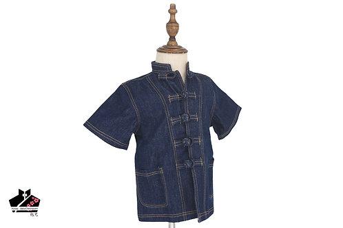 洗水牛仔布短袖唐裝