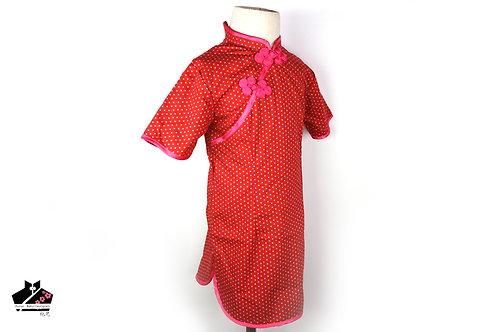 短袖旗袍-波點