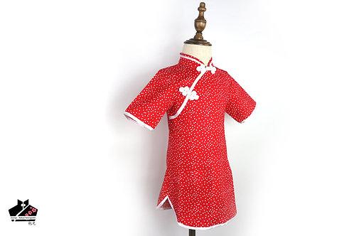 純棉短袖旗袍 -圓點