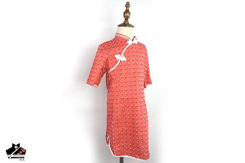 純棉短袖旗袍 -剪花