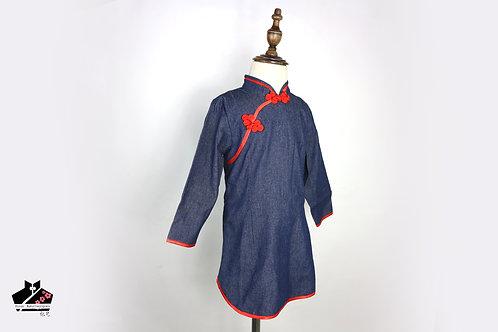 牛仔布長袖旗袍