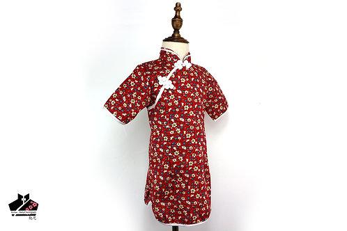純棉短袖旗袍 - 碎花
