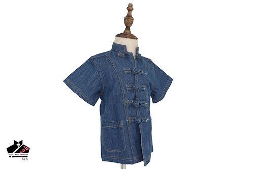 洗水牛仔布短袖唐裝-深藍21