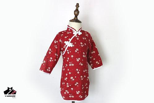棉麻長袖旗袍(二) - 碎花