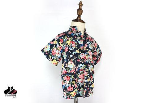 棉麻短袖唐裝(三) - 碎花