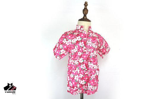 純棉短袖唐裝(三) -白花