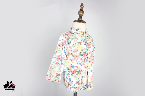 棉麻長袖唐裝(三) - 碎花