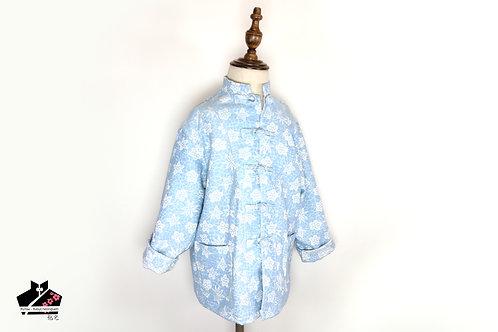 粉藍長袖唐裝