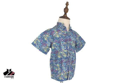 淺藍/油短袖唐裝