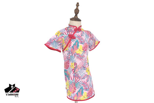 短袖旗袍-桃紅花