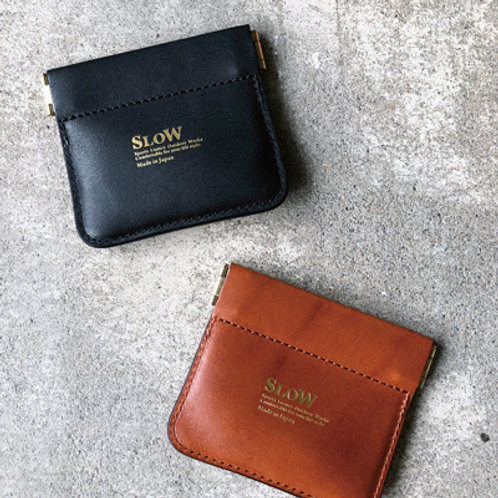 SLOW DOUBLE OIL LEATHER COIN CASE