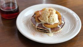 Butter Milk Pancake with Baked Apple/Vanilla Ice Cream