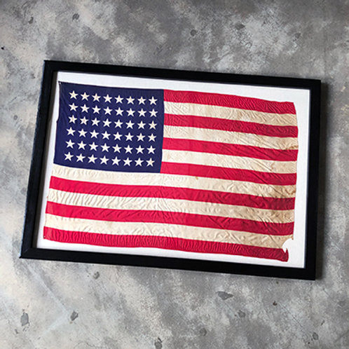 48 STARS VINTAGE US FLAG w/FRAME BOX