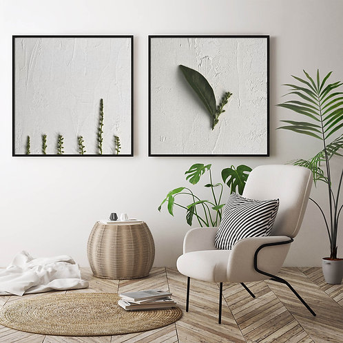 white and green leaves wall art print set, home decor