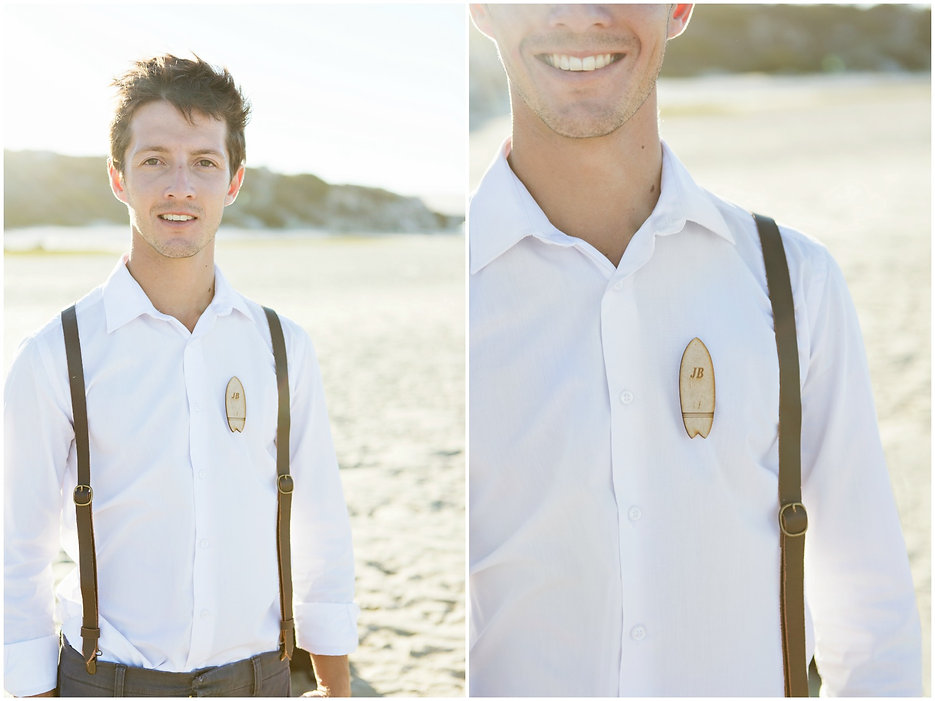 beach wedding, groom, surfboard badge, corsage alternatives