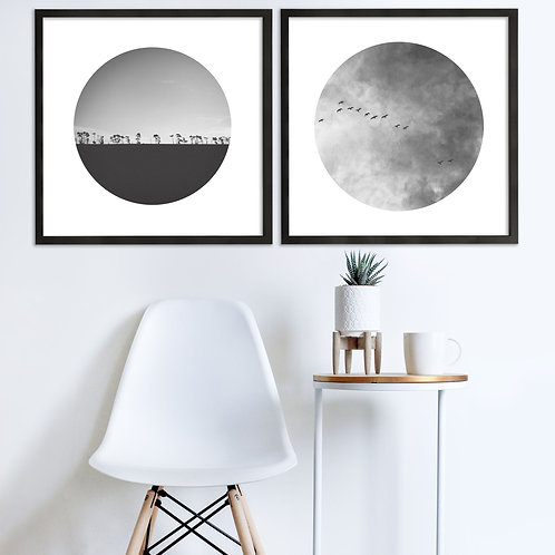 Heart In The Sky Black & White Print Set | Collection 1