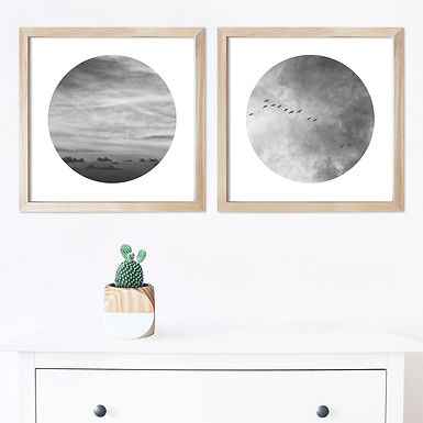 Heart In The Sky Black & White Print Set   Collection 2