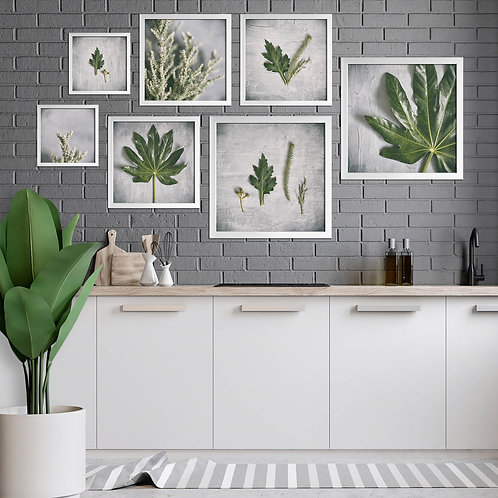 greenery on grey wall art print set