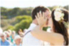 beach ceremony, bohemian wedding on the beach, first kiss