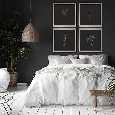 Gold Botanicals & Velvet Black Wall Art Print Set