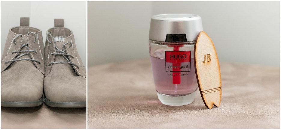 groom shoes, perfume, surf board badge