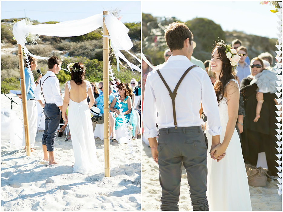 bohemian beach wedding, ceremony on the beach