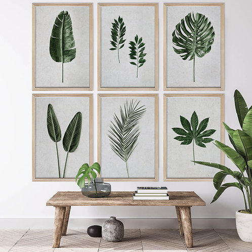 Tropical Leaves Wall Art Print Set   Collection 14