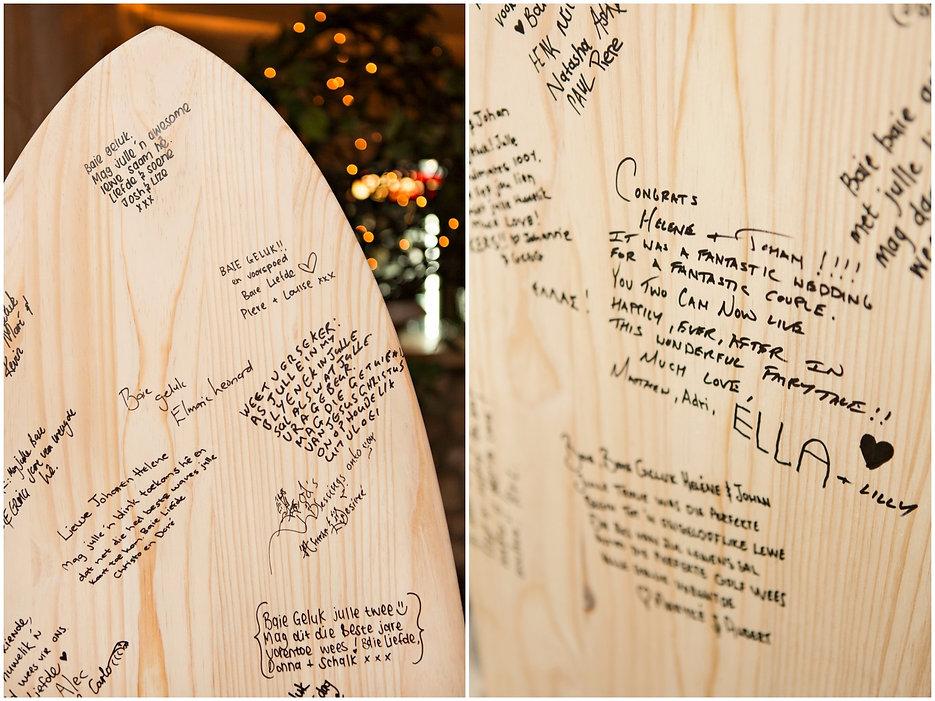 surfboard, guest book, write a message