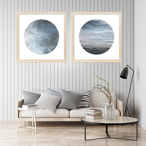 round wall art print set of blue clouds and birds in flight