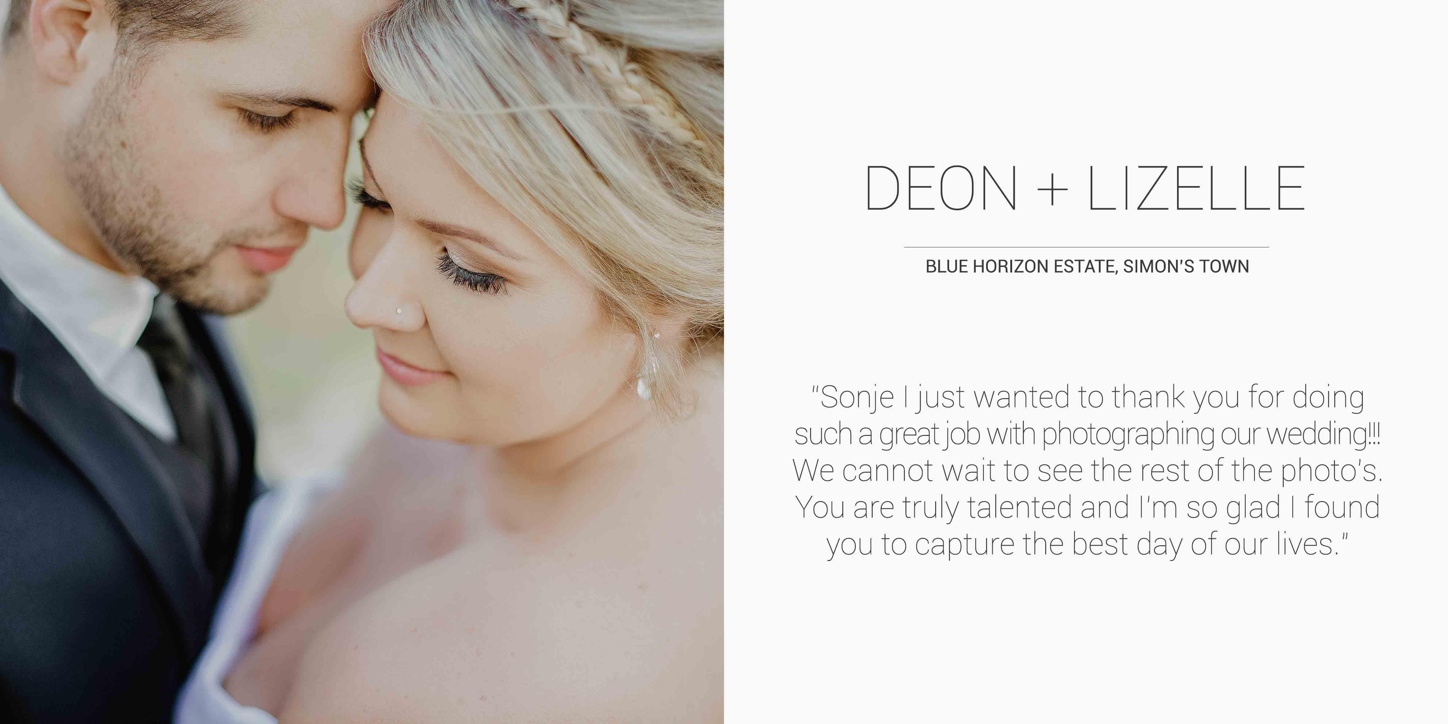 Deon + Lizelle Desktop Testimonial