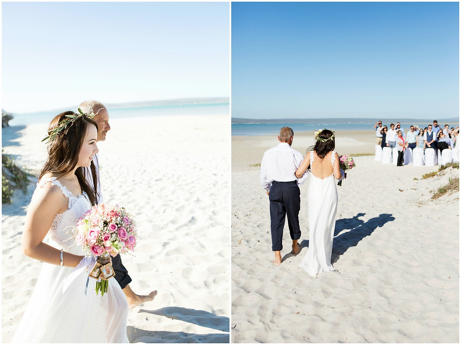 father and bride beach wedding, wedding on the beach sand, bohemian bride, open back wedding dress