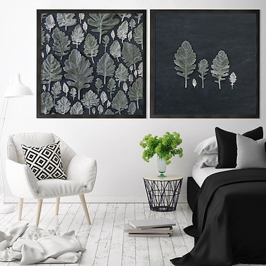 Dusty Leaves Wall Art Print Set