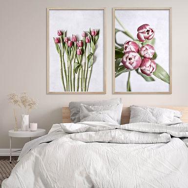 Pink Tulips Wall Art Print Set   Collection 1