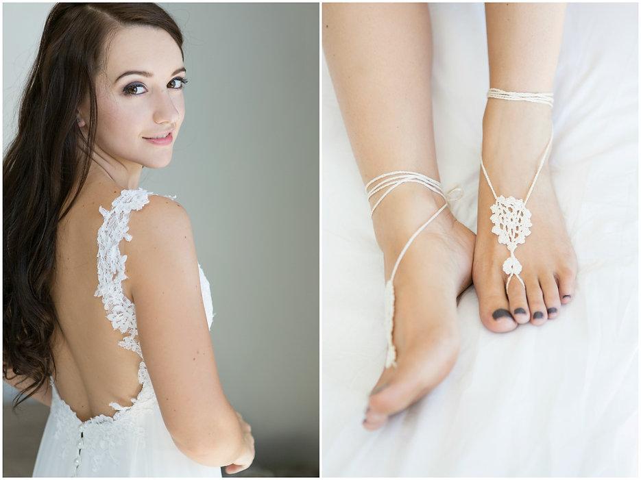 barefoot bride, barefoot sandals, anklets, boho, bohemian, bride, wedding, crochet, open back wedding dress