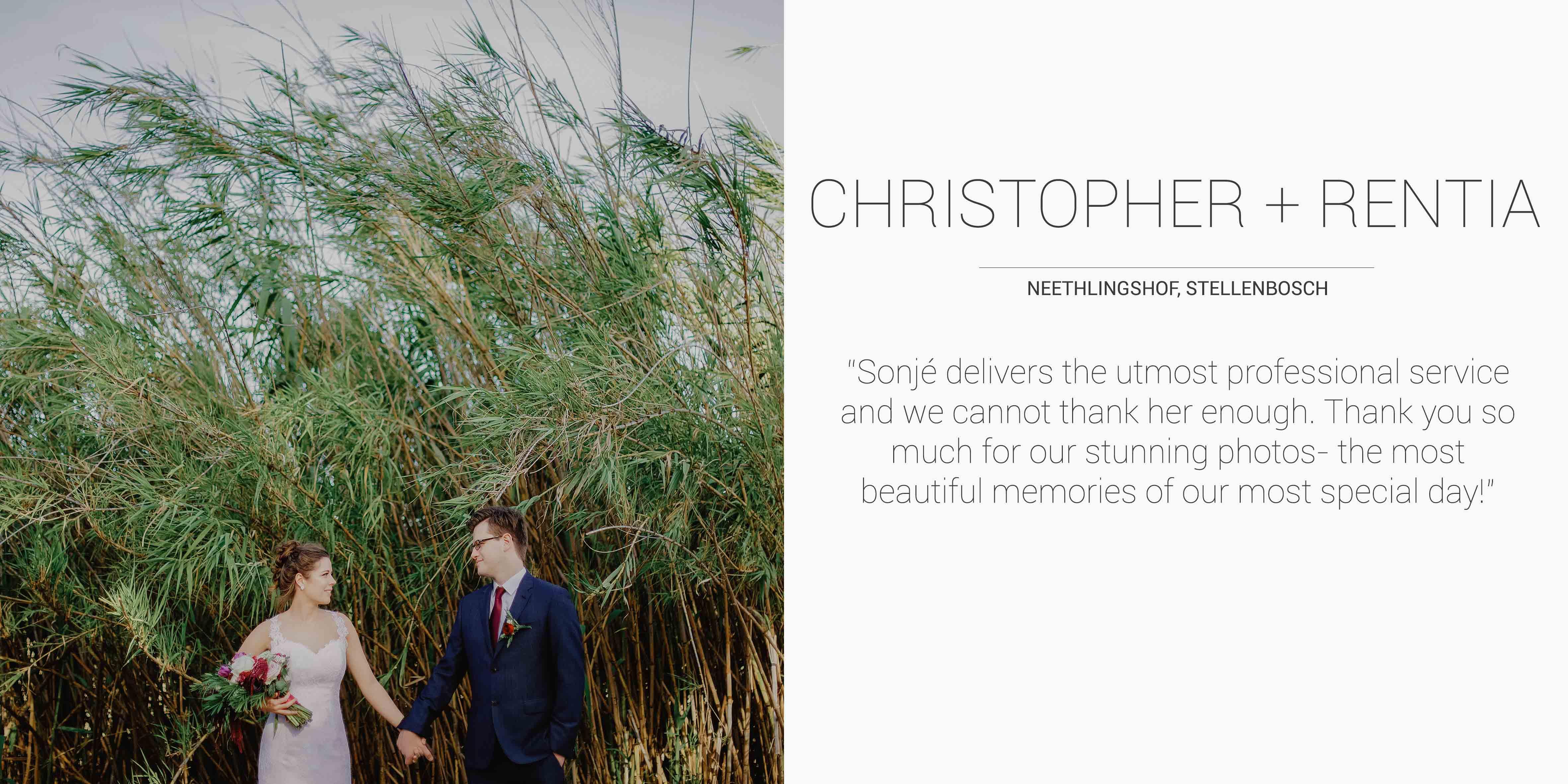 Christopher + Rentia Desktop Testimonial